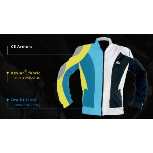 """Optimal"" summer motorcycle jacket containing Kevlar® + Dry Fit grey & black"